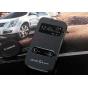 Фирменный оригинальный чехол-книжка для Samsung Galaxy S4 Zoom SM-C101 черный пластиковый с окошком для входящ..
