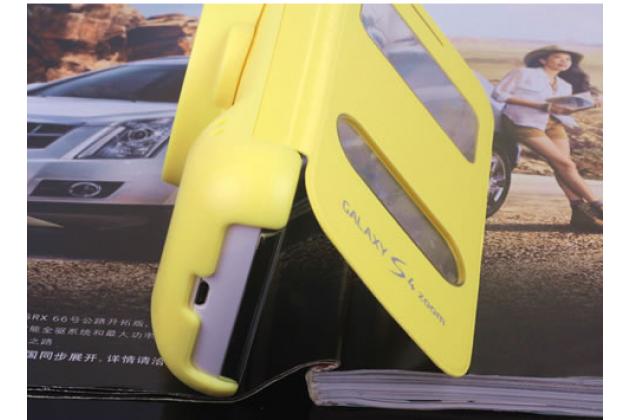 Чехол-книжка для Samsung Galaxy S4 Zoom SM-C101 желтый кожаный