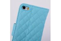 Стёганая кожа в ромбик с узором чехол-книжка для Samsung Galaxy S4 Mini i9190/i9192/i9195 синий