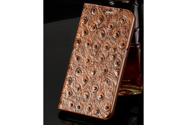 Фирменный роскошный эксклюзивный накладка с объёмным рельефом кожи страуса коричневый для Samsung Galaxy S4 Mini / S4 Mini Duos GT-i9190/i9192/i9195 . Только в нашем магазине. Количество ограничено.