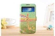 Фирменный чехол-книжка с безумно красивым расписным рисунком Оленя на Samsung Galaxy S4 Mini GT-I9190/Duos GT-I9192 с окошком для звонков