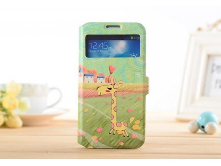 Фирменный чехол-книжка с безумно красивым расписным рисунком Оленя на Samsung Galaxy S4 Mini GT-I9190/Duos GT-..