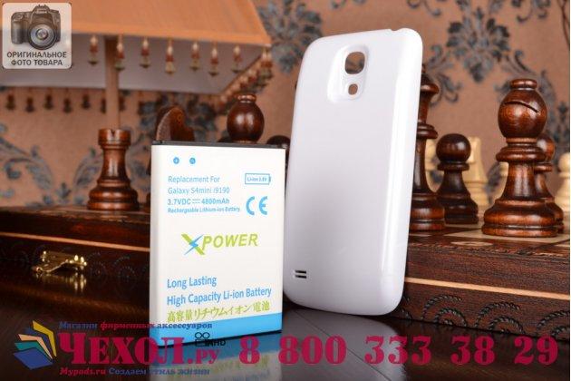 Усиленная батарея-аккумулятор большой повышенной ёмкости 4800mah для телефона Samsung Galaxy S4 Mini / S4 Mini Duos GT-i9190/i9192/i9195 / La Fleur + задняя крышка белая+ гарантия