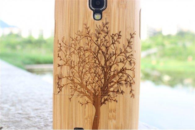 Фирменная оригинальная деревянная бамбуковая задняя панель-крышка-накладка для Samsung Galaxy S4 GT-i9500/i9505 с рисунком дерева