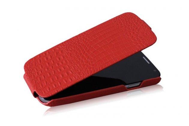 Фирменный оригинальный вертикальный откидной чехол-флип для Samsung Galaxy S4 i9500 лаковой кожи крокодила красного цвета
