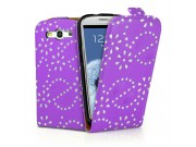 Фирменный откидной необычный чехол-флип для Samsung Galaxy S4 GT-i9500/i9505 фиолетовый с цветами и блестками..