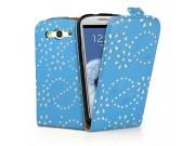 Фирменный откидной необычный чехол-флип для Samsung Galaxy S4 GT-i9500/i9505 голубой с цветами и блестками..