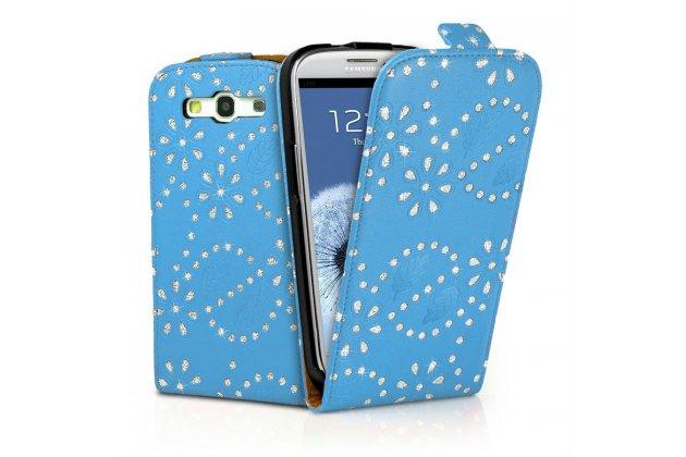Фирменный откидной необычный чехол-флип для Samsung Galaxy S4 GT-i9500/i9505 голубой с цветами и блестками