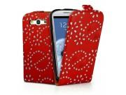 Фирменный откидной необычный чехол-флип для Samsung Galaxy S4 GT-i9500/i9505 красный с цветами и блестками..