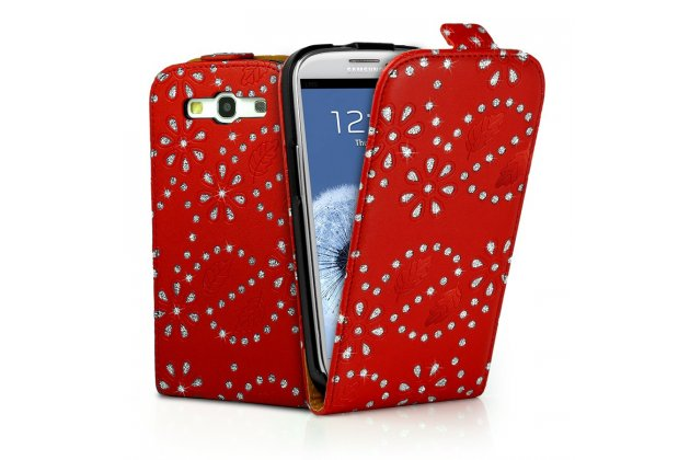 Фирменный откидной необычный чехол-флип для Samsung Galaxy S4 GT-i9500/i9505 красный с цветами и блестками