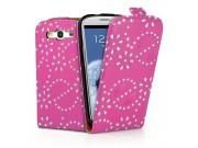 Фирменный откидной необычный чехол-флип для Samsung Galaxy S4 GT-i9500/i9505 розовый с цветами и блестками..