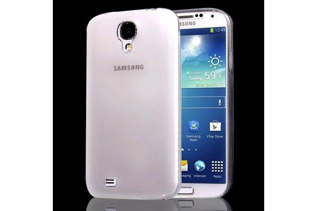 Фирменная ультра-тонкая полимерная из мягкого качественного силикона задняя панель-чехол-накладка для Samsung Galaxy S4 GT-i9500/i9505 черная полупрозрачная