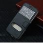 Фирменный оригинальный чехол-книжка для Samsung GALAXY S5 mini черный кожаный с окошком для входящих вызовов и..