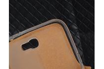 Фирменный оригинальный чехол-книжка для Samsung GALAXY S5 mini черный кожаный с окошком для входящих вызовов и свайпом