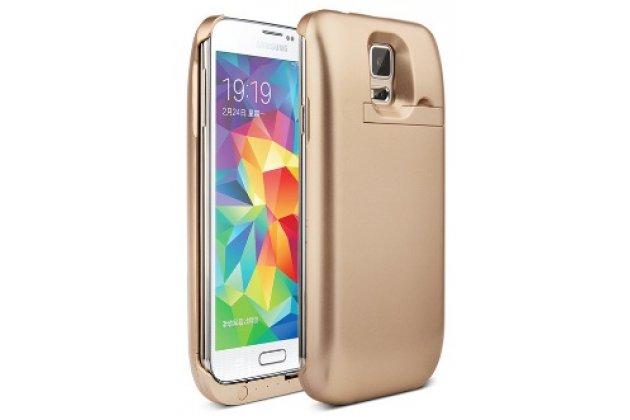 Чехол-бампер со встроенной усиленной мощной батарей-аккумулятором большой повышенной расширенной ёмкости 4800mAh для Samsung Galaxy S5 SM-G900H/G900F золотой + гарантия