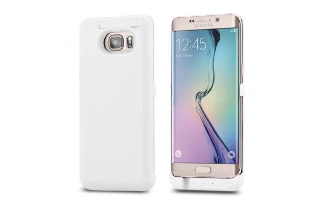 Чехол-бампер со встроенной усиленной мощной батарей-аккумулятором большой повышенной расширенной ёмкости 4800 mAh для Samsung Galaxy S6 Edge Plus + SM-G928 белый пластиковый + гарантия