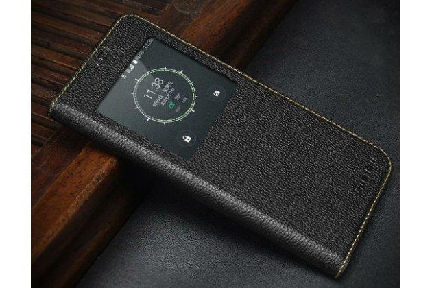 """Фирменный оригинальный чехол-кейс из импортной кожи для Samsung Galaxy S6 Edge Plus + SM-G928 5.7"""" с окном для входящих вызовов черный"""