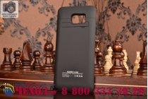 Чехол со встроенной усиленной мощной батарей-аккумулятором большой повышенной расширенной ёмкости 4800 mAh для Samsung Galaxy S6 Edge Plus + SM-G928 черный пластиковый + гарантия