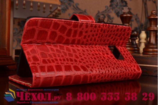 Фирменный чехол-книжка с подставкой для Samsung Galaxy S6 Edge Plus + SM-G928 лаковая кожа крокодила цвет красный