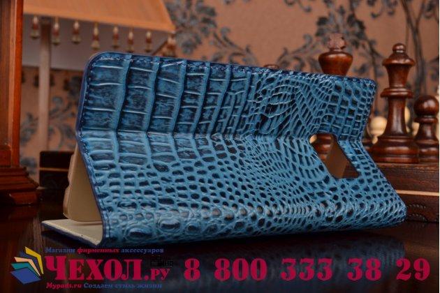 Фирменный роскошный эксклюзивный чехол с объёмным 3D изображением рельефа кожи крокодила синий для Samsung Galaxy S6 Edge Plus + SM-G928. Только в нашем магазине. Количество ограничено