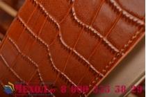 Фирменный роскошный эксклюзивный чехол с фактурной прошивкой рельефа кожи крокодила коричневый для Samsung Galaxy S6 Edge Plus + SM-G928 . Только в нашем магазине. Количество ограничено