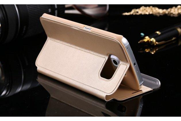 """Фирменный оригинальный чехол-кейс из импортной кожи для Samsung Galaxy S6 Edge Plus + SM-G928 5.7"""" с умным боковым окном золотой"""