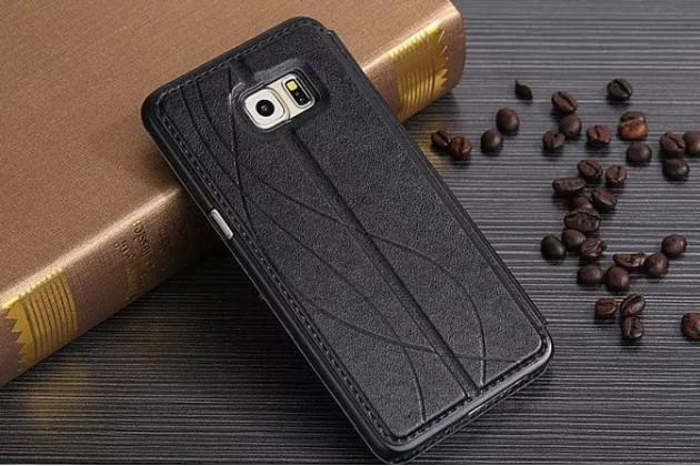 """Фирменный чехол-книжка для Samsung Galaxy S6 Edge Plus + SM-G928 5.7"""" черный с окошком для входящих вызовов из импортной кожи"""