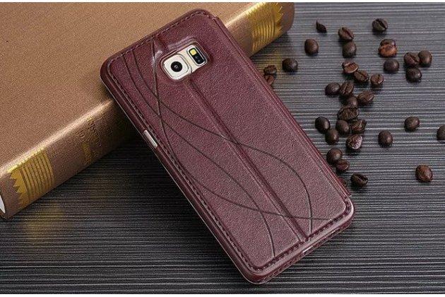 """Фирменный чехол-книжка для Samsung Galaxy S6 Edge Plus + SM-G928 5.7"""" коричневый с окошком для входящих вызовов из импортной кожи"""