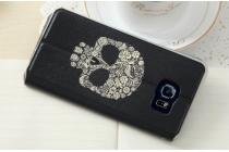 """Фирменный чехол-книжка с безумно красивым расписным рисунком черепа на Samsung Galaxy S6 Edge Plus + SM-G928 5.7""""  с окошком для звонков"""