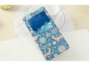 Фирменный чехол-книжка с безумно красивым расписным рисунком Оленя в цветах на Samsung Galaxy S6 Edge Plus + S..
