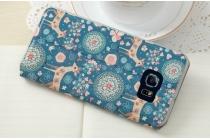 """Фирменный чехол-книжка с безумно красивым расписным рисунком Оленя в цветах на Samsung Galaxy S6 Edge Plus + SM-G928 5.7"""" с окошком для звонков"""