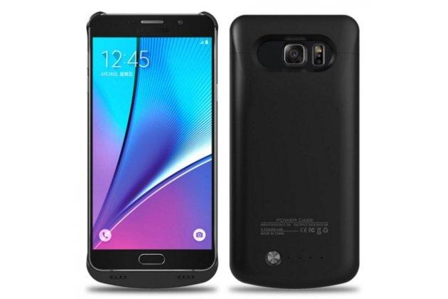 Чехол со встроенной усиленной мощной батарей-аккумулятором большой повышенной расширенной ёмкости 4200 mAh для Samsung Galaxy S6 Edge Plus + SM-G928 черный пластиковый + гарантия