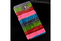 """Фирменная неповторимая экзотическая панель-крышка обтянутая кожей крокодила с фактурным тиснением для Samsung Galaxy S6 Edge Plus + SM-G928 тематика """"Тропический Коктейль"""". Только в нашем магазине. Количество ограничено."""