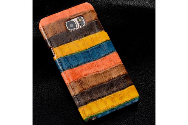 """Фирменная неповторимая экзотическая панель-крышка обтянутая кожей крокодила с фактурным тиснением для Samsung Galaxy S6 Edge Plus + SM-G928 тематика """"Африканский Коктейль"""". Только в нашем магазине. Количество ограничено."""