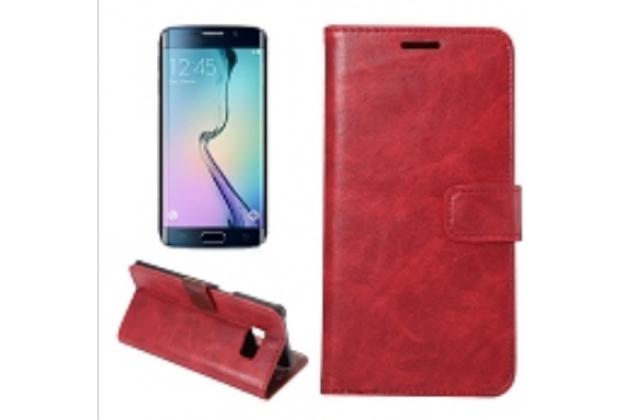 """Фирменный премиальный элитный чехол-книжка из качественной импортной кожи с мульти-подставкой и визитницей для Samsung Galaxy S6 Edge Plus + SM-G928 """"Ретро"""" красный"""