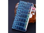 Фирменный роскошный эксклюзивный чехол с фактурной прошивкой рельефа кожи крокодила синий для Samsung Galaxy S..