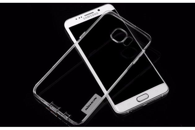 """Фирменная ультра-тонкая полимерная из мягкого качественного силикона с заглушками задняя панель-чехол-накладка для Samsung Galaxy S6 Edge Plus + SM-G928 5.7"""" серая"""