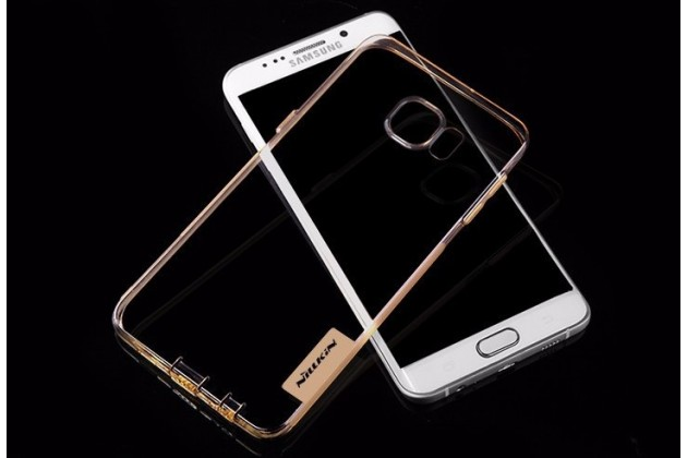 """Фирменная ультра-тонкая полимерная из мягкого качественного силикона с заглушками задняя панель-чехол-накладка для Samsung Galaxy S6 Edge Plus + SM-G928 5.7"""" золотая"""