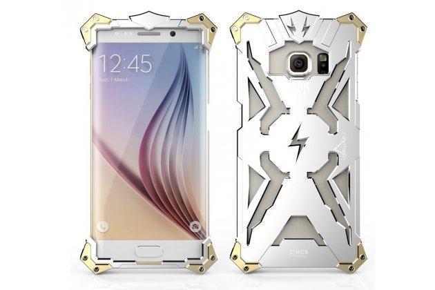 """Противоударный металлический чехол-бампер из цельного куска металла с усиленной защитой углов и необычным экстремальным дизайном  для Samsung Galaxy S6 Edge Plus + SM-G928 5.7"""" серебряного цвета"""