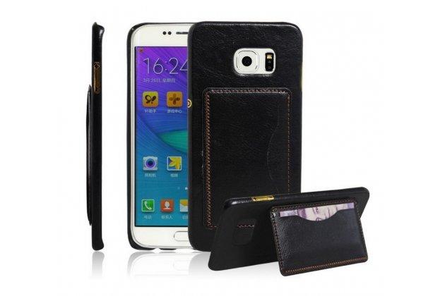 """Фирменная роскошная элитная премиальная задняя панель-крышка для Samsung Galaxy S6 Edge Plus + SM-G928 5.7"""" из качественной кожи буйвола с визитницей черная"""