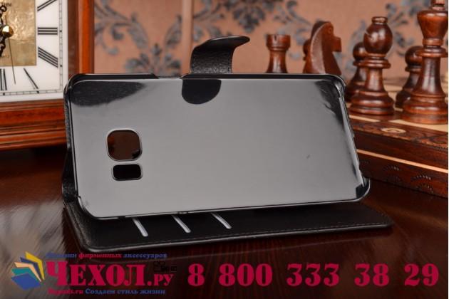 Фирменный чехол-книжка из качественной импортной кожи с подставкой застёжкой и визитницей для Самсунг Гелакси Эс6 Эдже Плюс черный