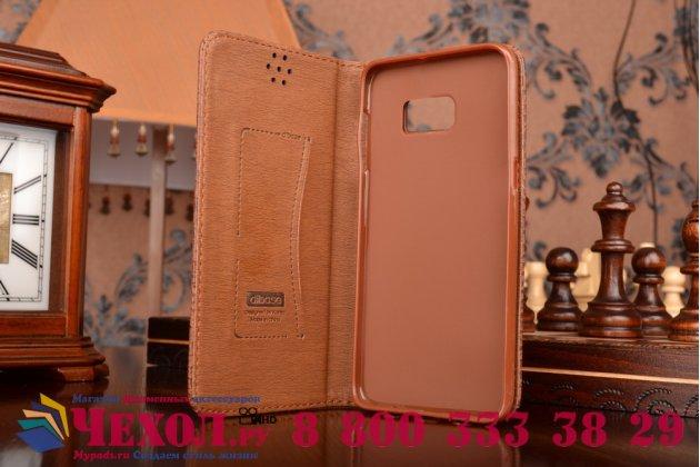 Фирменный чехол-книжка с подставкой для Samsung Galaxy S6 Edge Plus + SM-G928 лаковая кожа крокодила цвет темно-коричневый