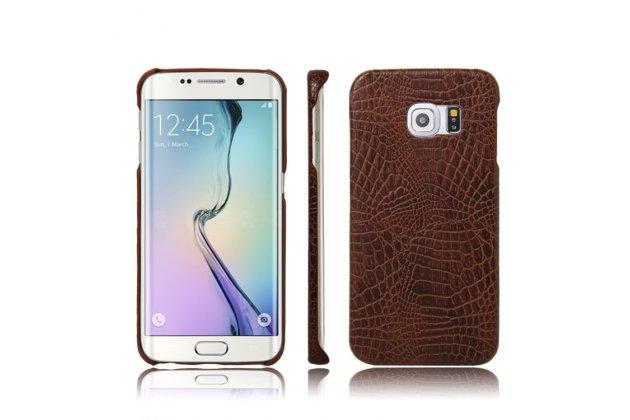 """Элитная задняя панель-крышка премиум-класса из тончайшего и прочного пластика обтянутого лаковой кожей крокодила для Samsung Galaxy S6 Edge Plus + SM-G928 5.7"""" коричневая"""
