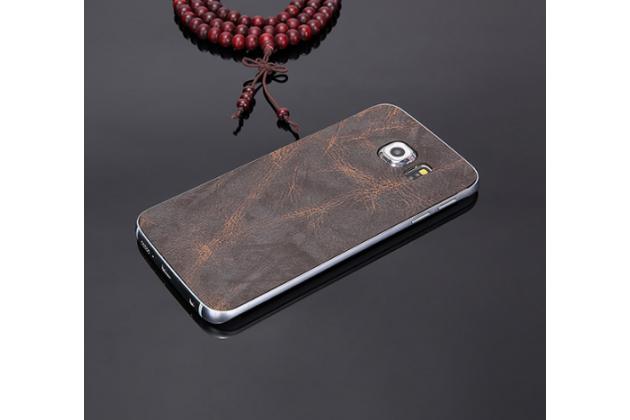 """Элитная задняя панель-крышка премиум-класса из тончайшего и прочного пластика обтянутого кожей буйвола для Samsung Galaxy S6 Edge Plus + SM-G928 5.7"""" серая"""