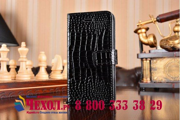 Фирменный чехол-книжка с подставкой для Samsung Galaxy S6 Edge лаковая кожа крокодила цвет  черный