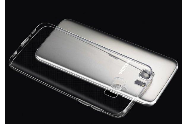 Фирменная задняя панель-чехол-накладка с защитными заглушками с защитой боковых кнопок для Samsung Galaxy S6 Edge прозрачная черная