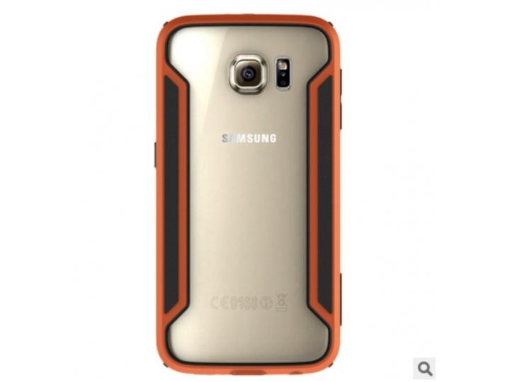 Фирменный оригинальный чехол-бампер для Samsung Galaxy S6 серо-оранжевый прорезиненный усиленный..