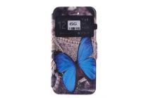 Фирменный чехол-книжка с безумно красивым расписным Бабочки на Samsung Galaxy S6 с окошком для звонков