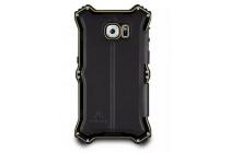 Противоударный усиленный неубиваемый бампер на металлической основе для Samsung Galaxy S6 с кожаной накладкой с окошком для входящих вызовов и свайпом  черного цвета