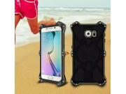 Противоударный усиленный неубиваемый бампер на металлической основе для Samsung Galaxy S6 с кожаной накладкой ..